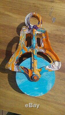 Psychedelic Ney Hay Carrier Trolley Pulley Hydrodip Antique Cast Iron Primitive
