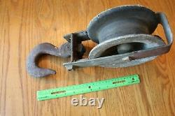 Pulley Vintage Large Iron Aluminum Wheel Heavy duty industrial Block and Tackle