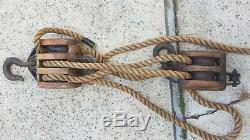 RARE! Antique Boston & Lockport Block & Tackle Pulley Set 2 with 50' Feet Rope