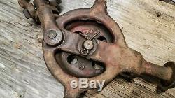 RARE Antique HAY TROLLEY DROP PULLEY WS&C9 CHAMPION CABLE CARRIER