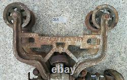 RARE F. E. Myers & Bro Cast Iron Sure Grip Timber Wood Beam Hay Trolley Unloader