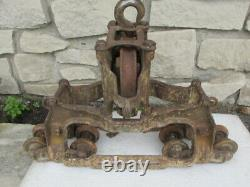 RARE Large 8-track roller THE GOSHEN INDIANA Hay Unloader/Trolly Light Cast Iron