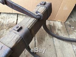 RARE antique VTG Hay Fork Barn Loading Primitive Spike Hook Farm Tool iron oak