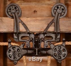 RESTORED Antique Vtg BOOMER Wood Beam Barn Farm Hay Trolley Carrier Pulley