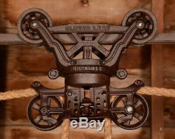 RESTORED Antique Vtg FE Myers Cloverleaf Barn Farm Hay Trolley Carrier Pulley