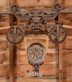 RESTORED Antique Vtg FE Myers OK Unloader Barn Farm Hay Trolley Carrier Pulley