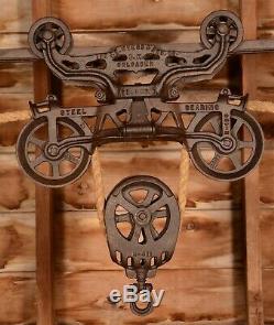 RESTORED Vintage Myers OK UNLOADER Hay Barn Trolley Carrier Farm Pulley Tool