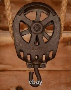 RESTORED Vintage Myers OK UNLOADER Hay Barn Trolley Carrier Farm Pulley Tool