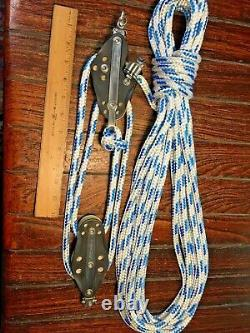 RONSTAN MAIN SHEET, VANG 41 BLOCK/TACKLE With40' LINE POLISHED BRASS CAM CLEAT