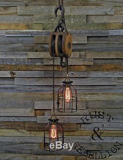 Rustic Barn Block Amp Tackle Pulley Pendant Light Lamp