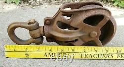 Rare Antique Vintage Cast Iron Barn Pulley Rustic Farm Tool Primitive Trolley