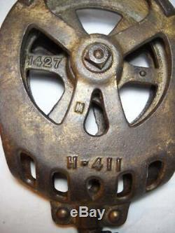 Rare F. E. Myers & Bro. Ashland Ohio Cast Iron Roller Bearing Pulley Great Look