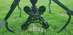 Rare Vintage W. C. Strong Hay Trolley Barn Pulley with Forks / grapple ornate