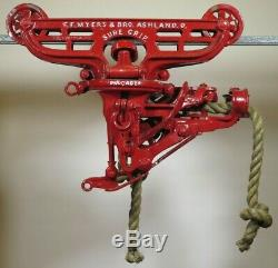 Restored vtg'05 MYERS SURE GRIP HAY TROLLEY barn farm hay carrier pulley withROPE
