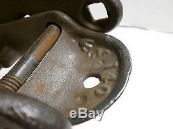 Rustic Primitive Antique, Vint Cast Iron & Wood Louden Floor Pulley Old Farm Tool
