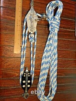 SCHAEFER ADJ CAM CLEAT MAIN SHEET, VANG 41 BLOCK & TACKLE With40' NEW 3/8 LINE