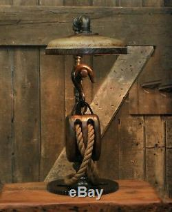 Steampunk Lamp Industrial Machine Age Lamp Light Gear Barn Pulley Block Tackle