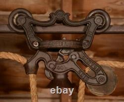 TWIN Vintage 1887 Ney Hay Barn Trolley Carrier Farm Wood Pulley Tool with Track