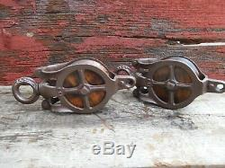 TWO Antique/VINTAGE CAST Iron AND WOOD PULLEYS ORNATE RUSTIC DECOR