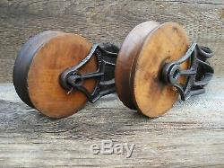 TWO Antique/VINTAGE PRIMITIVE CAST Iron AND WOOD PULLEYS ORNATE RUSTIC DECOR