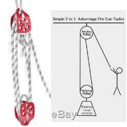 Twin Sheave Block +Tackle 7500Lb Pulley System 150-250Ft 1/2 Double Braid Rope