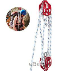Twin sheave block and tackle 6300Lb pulley 250ft/76m 7/16 Double Braid Rope