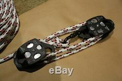 Twin sheave block and tackle 7500Lb pulley system 125 feet 1/2 Double Braid Rope