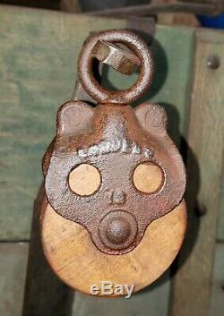 VERY SMALL LOUDENS Hay Barn Pulley Rustic Farm Primitive. Miniature Rare! 5.5