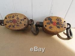VINTAGE 5 ANVIL BLOCK and TACKLE 2 SINGLE WHEEL PULLEYS ANVIL FOR YOUR RIG