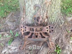 VINTAGE LEADER WOOD BEAM HAY TROLLEY, CAST IRON