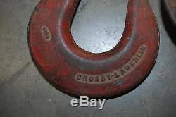 VINTAGE LOUDEN MACHY CO. BARN PULLEY & CROSBY LAUGHLIN PULLEY WithHOOK