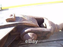 VTG Antique LARGE HOOK & PULLEY Farm INDUSTRIAL SQUARE HEAD BOLTS STEAMPUNK RARE
