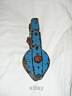 Vintage Antique Cast Iron Pulley Block & Tackle, Unusual Painted Patina