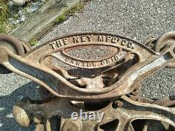 Vintage Antique Hay Barn Trolley Carrier Pulley NEY MFG. CO. Usable