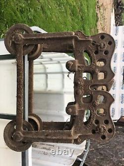 Vintage Antique Hay Barn Trolley Carrier Pulley Porter