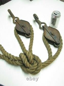 Vintage Antique large Block & Tackle and Rope 1 inch rope