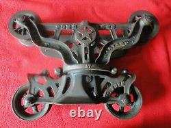 Vintage Cast Iron Beautiful Condition Peerless H. H. F. & Co. Hay Trolley