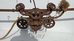 Vintage Cast Iron Myers O. K. Ashland Ohio Barn Hay Trolley With Drop Pulley