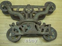 Vintage Cast Iron Peerless H. H. F. Co Farm Barn Pulley Hay Trolley Carrier