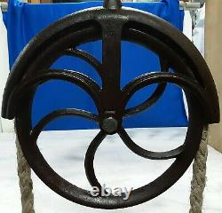 Vintage Cast Iron Well Pulley Antique Old Farm 12 Wheel Barn Steampunk original