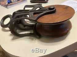 Vintage Cast Iron & Wood Wheel Farm Pulley With Embossed Letters J. H. T. Co
