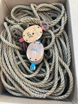 Vintage Double Wooden Wood 2 Pulleys Block with 350' Feet HEAVY DUTY ROPE