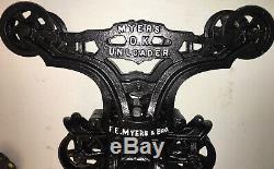 Vintage F E Myers & Bro O. K. Hay Unloader Trolly J Light Cast Iron Ashland, OH