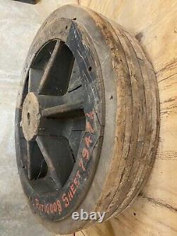 Vintage Huge Wooden Pulley Flat Belt Large Equipment Antique 31.5 Diameter