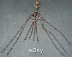 Vintage LANTZ Hay Bail Trolley Pulley with Grapple Hook Chain & Release Assembly