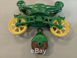 Vintage Myers OK UNLOADER Hay Barn Trolley Carrier Farm Tool john Deere Green