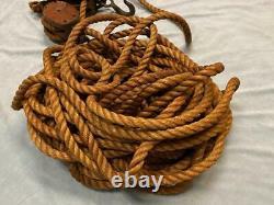Vintage Pair ANVIL Logo Wood Double Block Wood Pulleys with 84' Long Hemp Rope