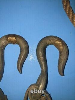 Vintage Pair Bell System 3 Pullies Block & Tackle Pully Snatchblock