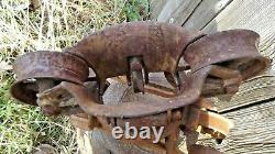 Vintage Rare Wood Track Myers Unloader Barn Trolley hay Carrier Pulley 1920'S