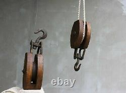 Vintage Reel Block And Tackle Iron and Wood Pulley Steampunk Reel Heavy Industri